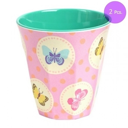 Picture of MEDIUM CURVED CUP W PINK BUTTERFLY PRINT 2 Pcs.