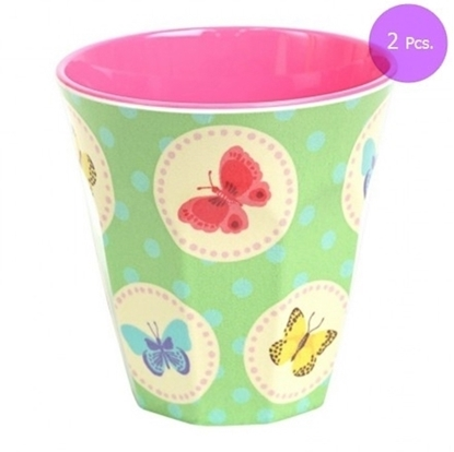 Picture of MEDIUM CURVED CUP W GREEN BUTTERFLY PRINT 2 Pcs.