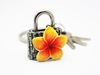 Picture of Loyfar Pewter Frangipani Padlock with Key Hanging