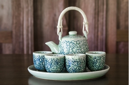 Picture of Blue tea set - Flower carving celadon