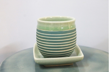 Picture of Blue stripe teacup with saucer celadon