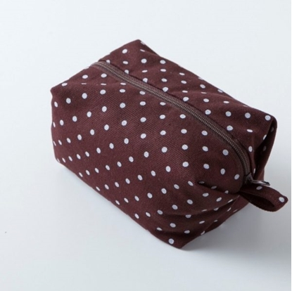 Picture of Canvas cosmetic bag - Minibox Dot brown