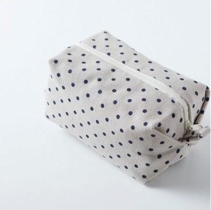 Picture of Canvas cosmetic bag - Minibox Blue dot