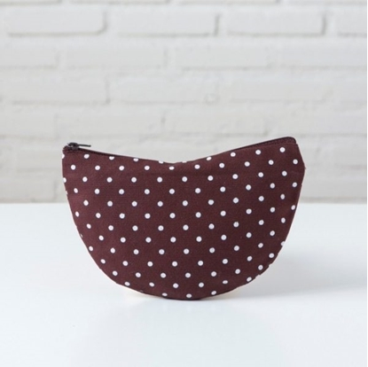 Picture of Canvas pencil case - Curve Dot brown