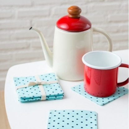 Picture of Cotton coaster set (4 pieces / set) - Dot mint