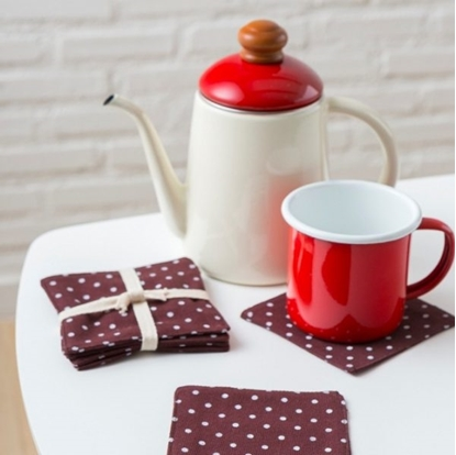 Picture of Cotton coaster set (4 pieces / set) - Dot Brown