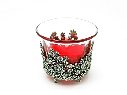 Picture of Loyfar Pewter Daisy Shot Glass Candle Holder