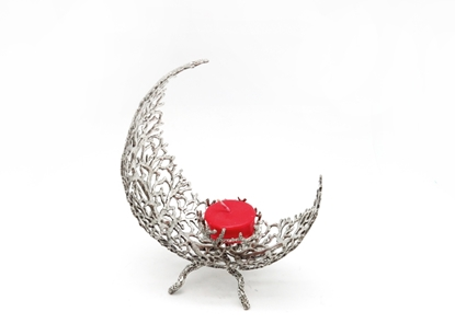 Picture of Loyfar Pewter Crescent Moon Coral Candle Holder