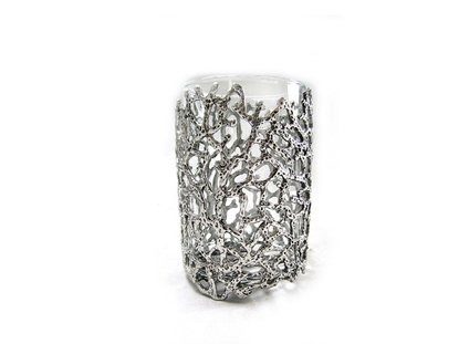 Picture of Loyfar Pewter Coral Small Glass Candle Holder