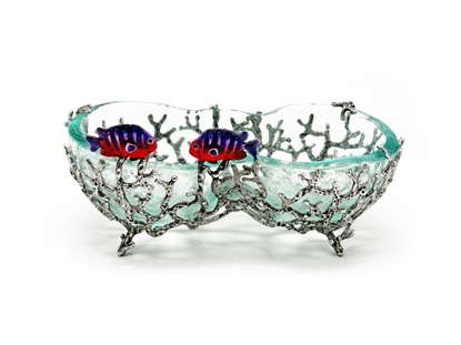 Picture of Loyfar Pewter Coral with Fish Double Glass Coin Tray
