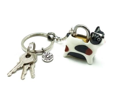 Picture of Loyfar Pewter Boston Terrier Padlock with Key Hanging