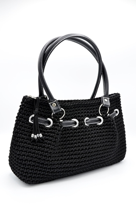 Picture of Black crochet hand bag