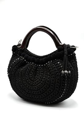 Picture of Black pom poms crochet bag