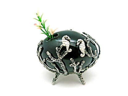 Picture of Loyfar Pewter Coral with Seahorses Ceramic Vase