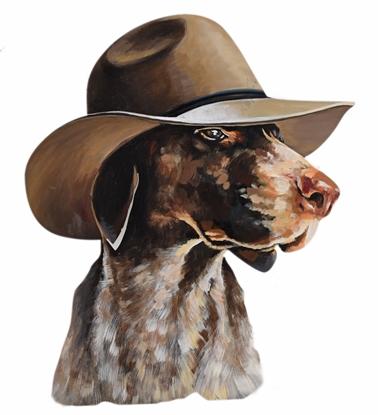 Picture of งานเหล็กแขวนผนังโชว์ ลายสุนัขสวมหมวก