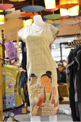 Picture of ชุดเดรสผ้าบาติกสีครีมลายปู่ม่าน ย่าม่าน