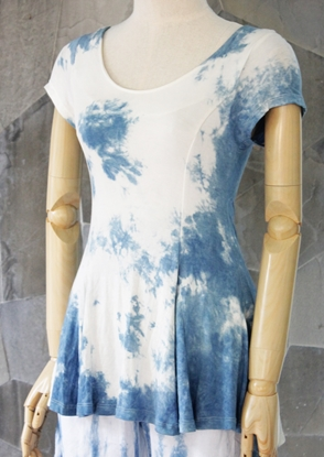 Picture of Indigo Tiedye Bell Sleeve Rayon Top