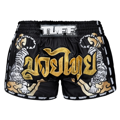 Picture of TUFF Muay Thai Boxing Shorts Black Retro Double Tiger With Gold Text