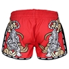 Picture of TUFF Muay Thai Boxing Shorts Red Retro Style Double Tiger With Gold Text