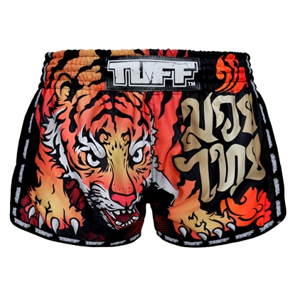 Picture of TUFF Muay Thai Boxing Shorts Black Retro Style With Cruel Tiger