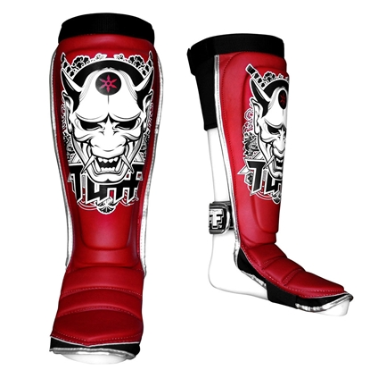 Picture of TUFF Hybrid MuayThai Boxing Shin guards Red with Demon