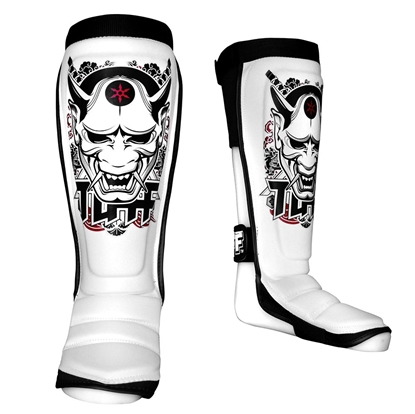 Picture of TUFF Hybrid MuayThai Boxing Shin guards White with Demon