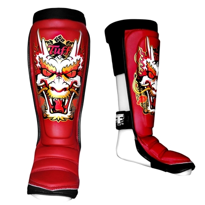 Picture of TUFF Hybrid MuayThai Boxing Shin guards Red with Dragon