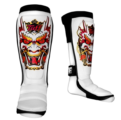 Picture of TUFF Hybrid MuayThai Boxing Shin guards White with Dragon