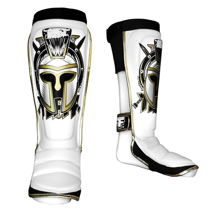 Picture of TUFF Hybrid MuayThai Boxing Shin guards White with Gladiator