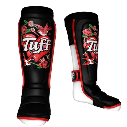 Picture of TUFF Hybrid MuayThai Shin guards Rose Black