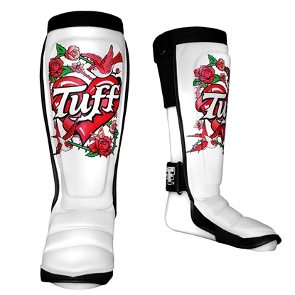 Picture of TUFF Hybrid MuayThai Boxing Shin guards White with Rose