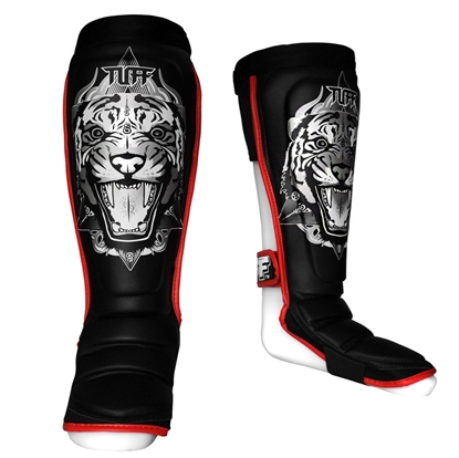 Picture of TUFF Hybrid MuayThai Shin guards Tiger Black