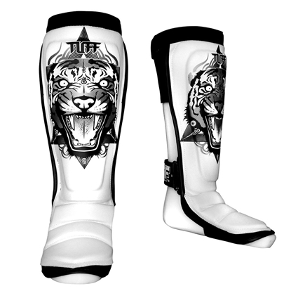 Picture of TUFF Hybrid MuayThai Boxing Shin guards White with Tiger