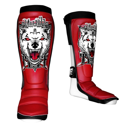 Picture of TUFF Hybrid MuayThai Boxing Shin guards Red with Wolf