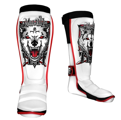 Picture of TUFF Hybrid MuayThai Boxing Shin guards White with Wolf