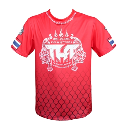 Picture of TUFF Muay Thai Shirt True Power Double Tiger Red