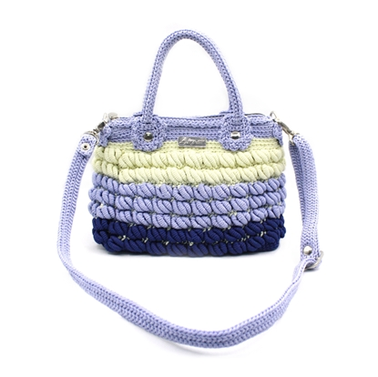 Picture of Colorful three tone crochet bag