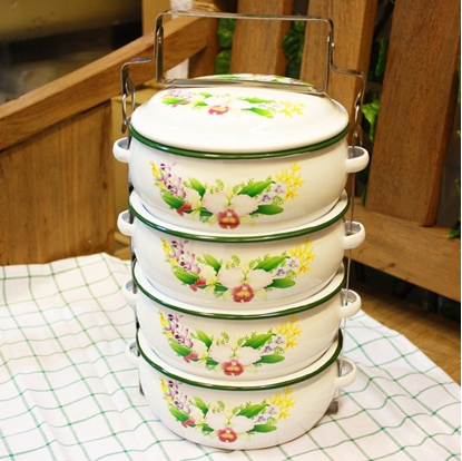 Picture of Thai Enamelware - Flower Lunch Box
