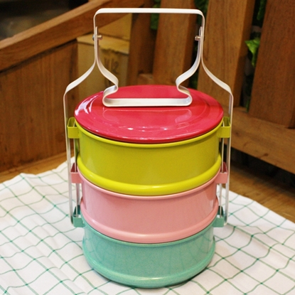 Picture of Thai Enamelware - Sweet Colorful Lunch Box 3 Tier