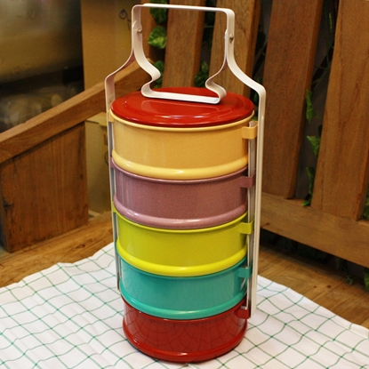 Picture of Thai Enamelware - Colorful Lunch Box 5 Tier