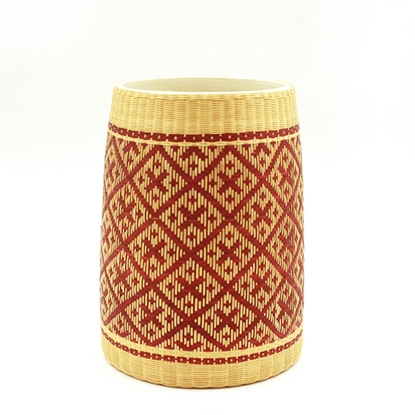 Picture of Cross pattern - Ceramic bamboo hand weaving jar home décor size 14.5 cm.