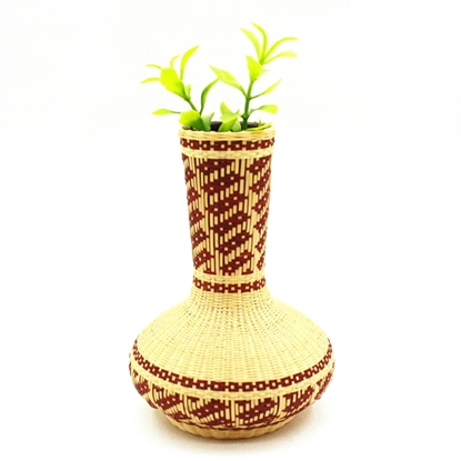 Picture of  Stripe pattern - Ceramic bamboo hand weaving vase - size 12 cm.