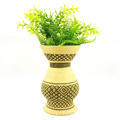 Picture of Dao lom duen Ceramic bamboo hand weaving column krater vase