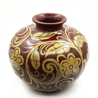 Picture of Thai floral Pottery hand painted round vase