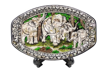 Picture of Mother Of Pearl Elephant Plate With Tripod