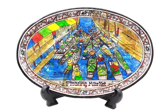 Picture of จานโชว์รูปตลาดน้ำ พร้อมขาตั้ง
