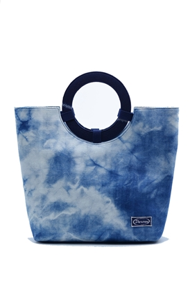 Picture of  Tie dye indigo cotton tote handbag
