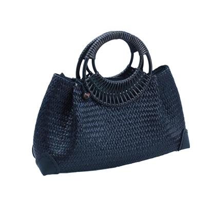 Picture of All Black woven Lepironia Handbag