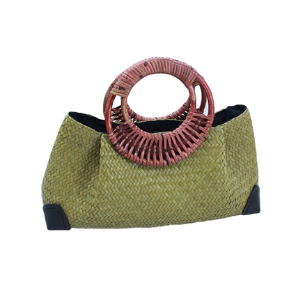 Picture of Olive woven Lepironia Handbag