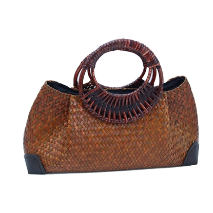 Picture of Saddle brown woven Lepironia Handbag